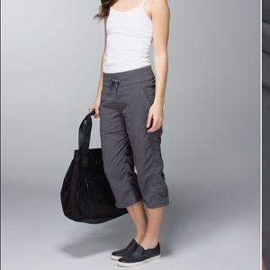 Lululemon studio Crop Grey Capri Pant Drawstring